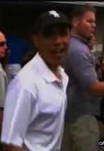 Obama in baseball hat