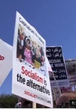Socialism sign at rally in DC
