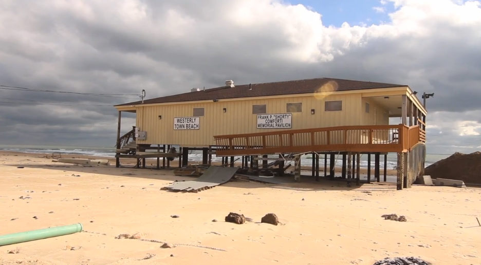 Misquamicut Beach Sand Dunes Pretty Much Gone After Storm Video Radio Vice Online