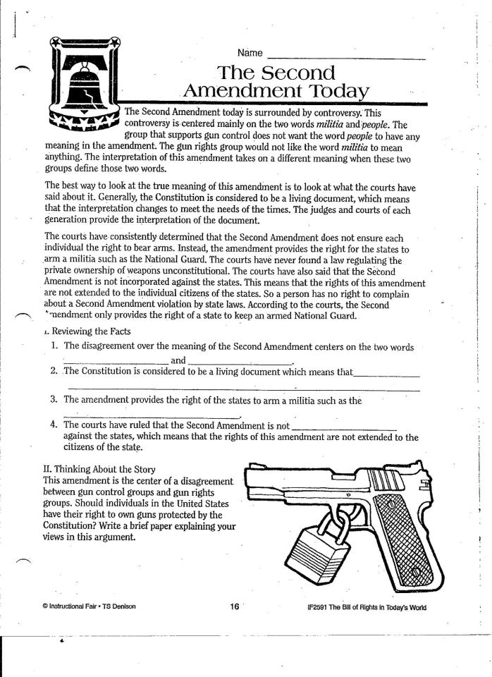 Bill of rights worksheets for elementary students